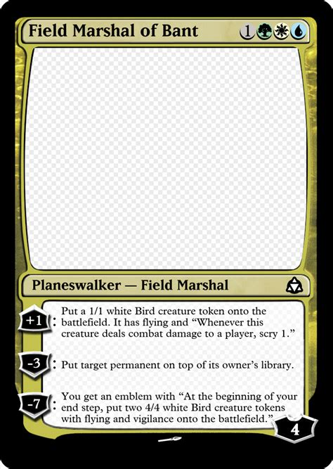 Planeswalker Card Template by Bant Planeswalker Can T Win A War Without Air