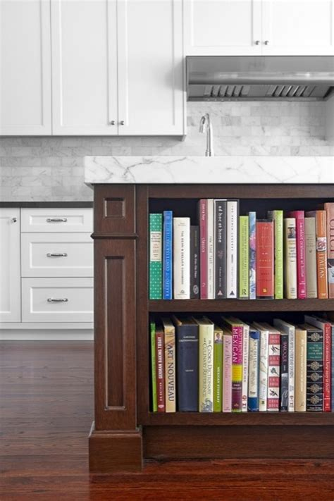 island cookbook shelf contemporary kitchen benjamin