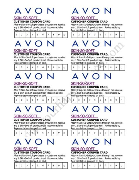coupon punch card template avon skin so soft coupon card avon by becca