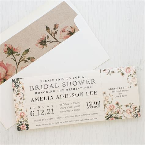 Bridal Invitations by Garden Roses Customizable Bridal Shower Invites Beacon