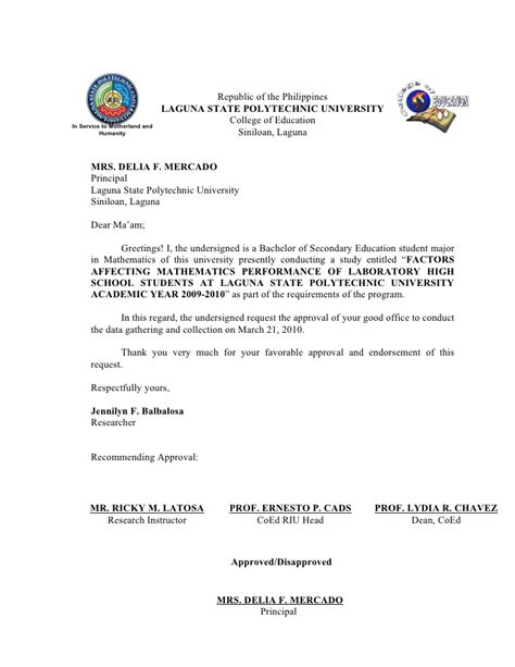 Sle Letter Of Permission To Conduct A Research Letter For The Principal