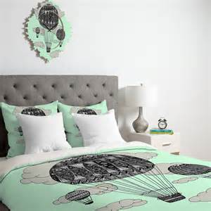 Super King Size Duvet Cover Sets Mint Green Air Balloon Duvet Cover Twin King Queen Size