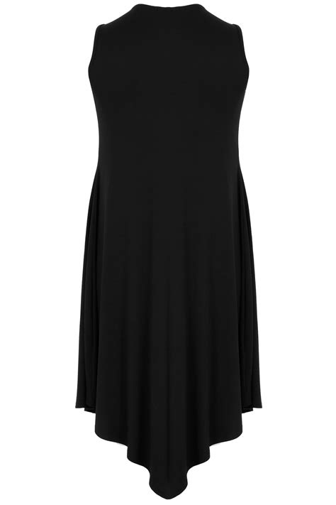 New Arrival Fashion Slip On 1698 black jersey swing tunic dress plus size 16 to 32