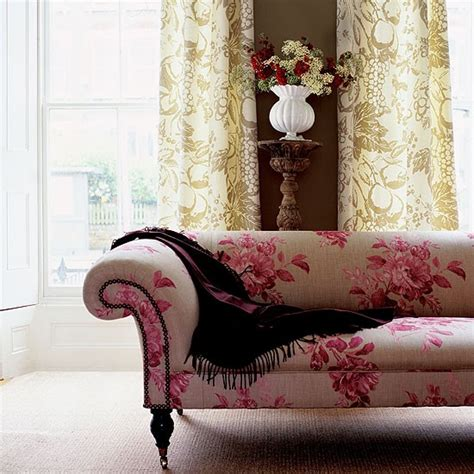 Meuble Style Baroque 2322 by Living Room With Brown Wall Floral Patterned Sofa And