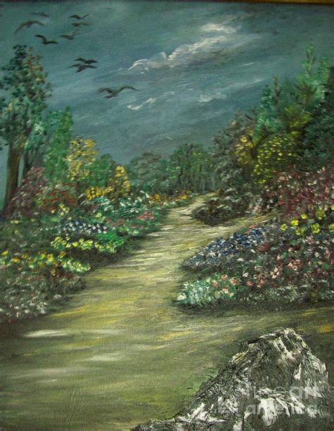 a walk in the garden painting by rhonda