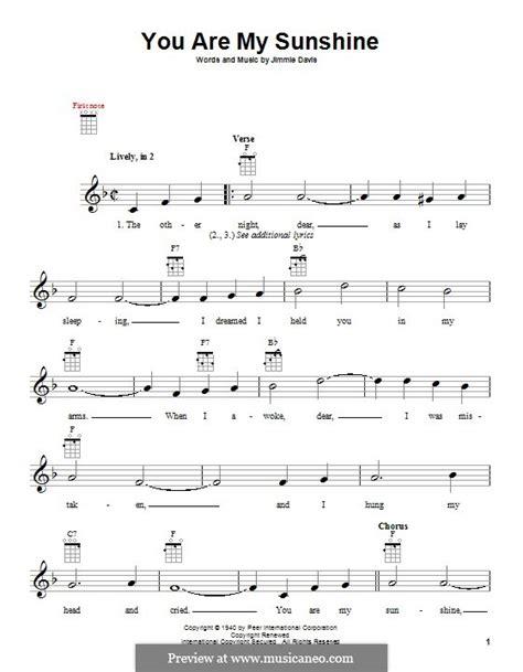 printable sheet music you are my sunshine you are my sunshine by j davis sheet music on musicaneo