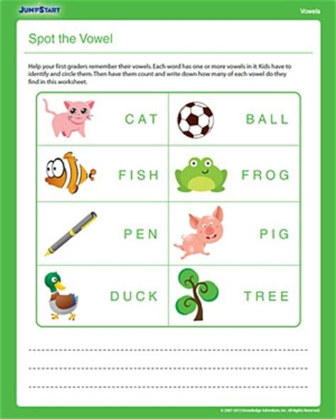 printable english worksheets for grade 1 spot the vowel free printable 1st grade english