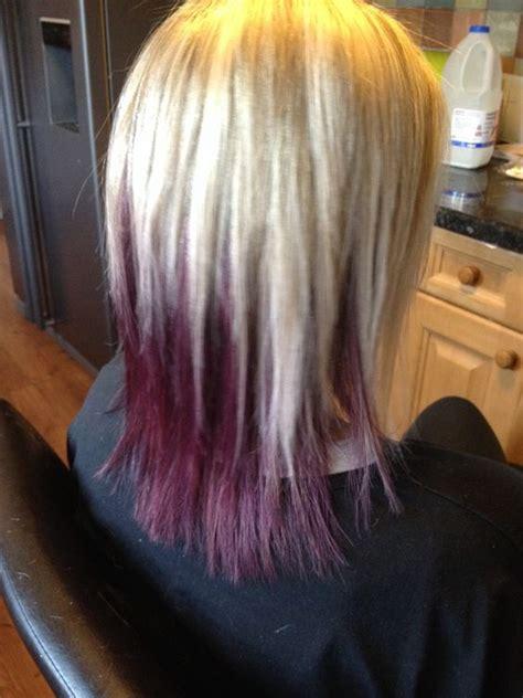 purple highlights in platinum blonde hair platinum blonde highlights on top deep purple underneath