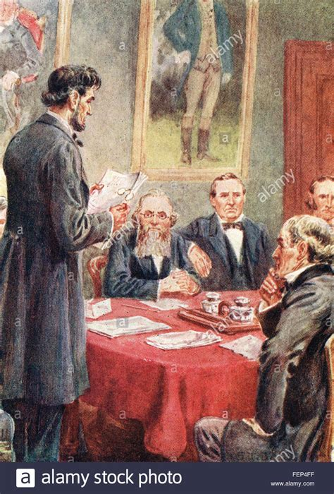 abraham lincoln cabinet lincoln reading the emancipation proclamation to his