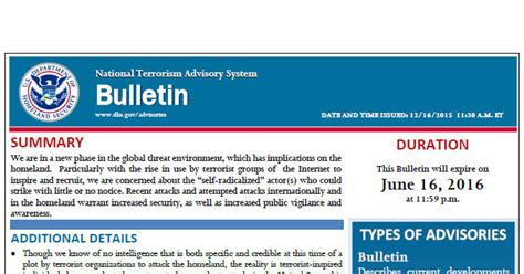 Scu Mba Bulletin by The U S Sends Out Its Official Terror Warning