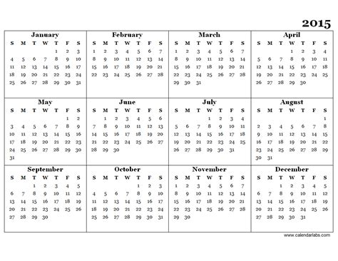 calendar 2015 only printable yearly