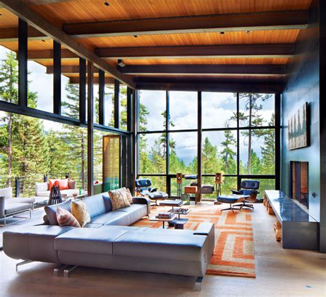 wa home design living magazine a modern nest in the forest of whitefish montana