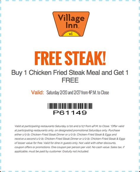 inn coupons inn coupons second chicken fried steak meal free