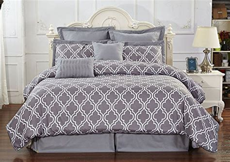 wrinkle free grey and white comforter set unique home 8 reversible pinch pleat comforter set