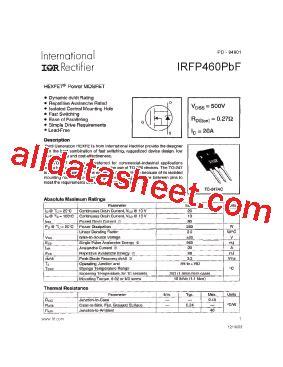 harga transistor irf 460 irfp460pbf データシート pdf international rectifier