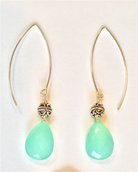 Chalcedony Jewelry Handmade - aqua chalcedony brio earrings