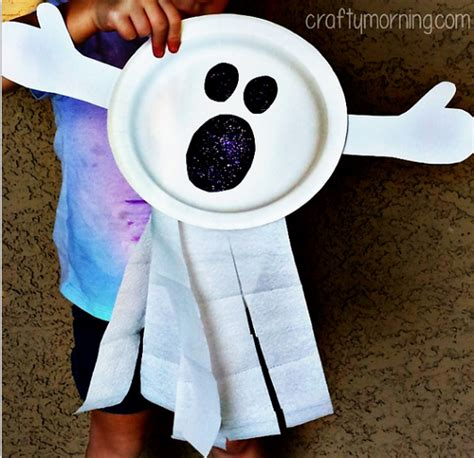 Paper Plate Ghost Craft - paper plate ghost craft for