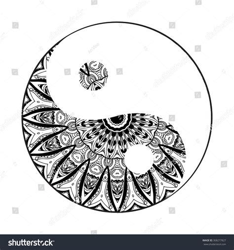 ornament card mandala yin yang geometric stock vector
