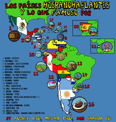 the spanish speaking world a spanish speaking countries poster spanish project by thesharonyu on