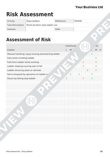 step ladder risk assessment template step ladders risk assessment template haspod