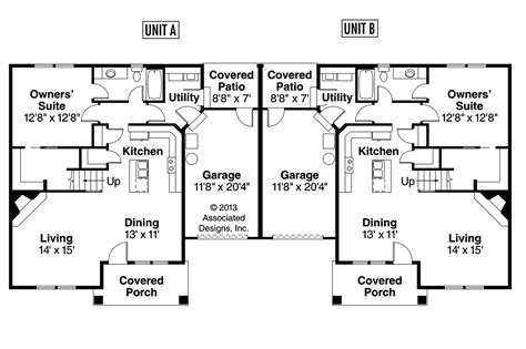 Duplex Floor Plans Craftsman House Plans Donovan 60 007 Associated Designs