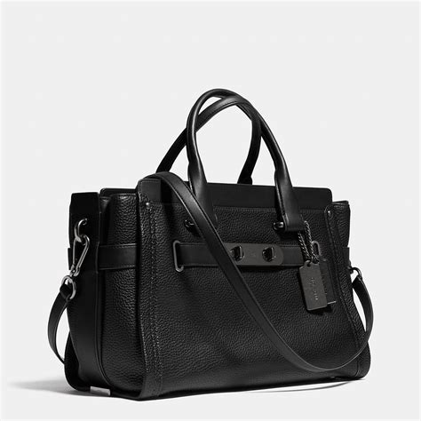 Coach Sweager 27 All Black Coach Swagger 27 Bag In Black Silver True Lyst