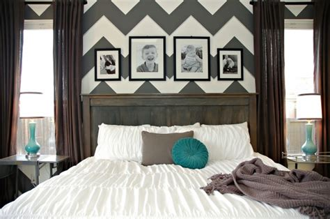 Teal And Grey Bedroom Walls by Diy Farmhouse Headboard Bed Chevron Zig Zag Gray White Teal