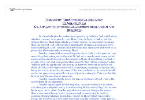 Descartes Essays by Explain Descartes Ontological Argument Essay Thematic Essay Belief Systems Islamic