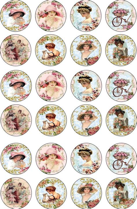 printable vintage stickers details about bottlecap victorian women round and oval