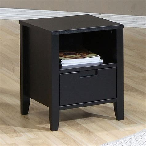 Modern Black Nightstands Cordaba Black 1 Drawer Nightstand Contemporary Nightstands And Bedside Tables By Overstock