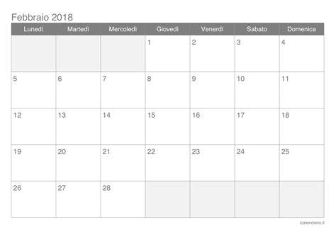Calendario 2019 Febbraio Calendario Febbraio 2018 Da Stare Icalendario It