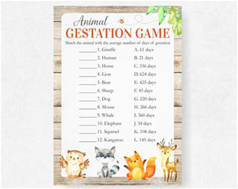 printable animal gestation game woodland baby shower game animal pregnancy gestation game
