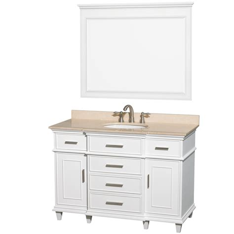 48 inch bathroom vanity top wyndham collection wcv171748swhivunrm44 berkeley single vanity white 48 inch with ivory marble