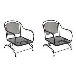 shop garden treasures set of 2 davenport black wrought iron mesh seat patio motion chairs