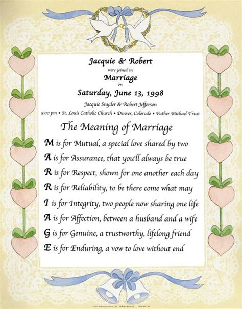 the meaning of marriage poem each letter of marriage