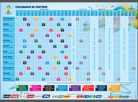 Calendario De Partidos Calendario De Partidos Copa Mundial De La Fifa Brasil 2014