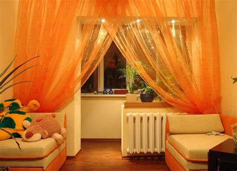 Orange Valances For Windows Decorating Decidyn Page 6 Classic Kitchen Area With Glossy Black Color Mirrored Subway Tiles