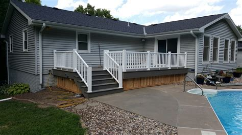 Grey Composite Deck with White Handrails   Van Cleave