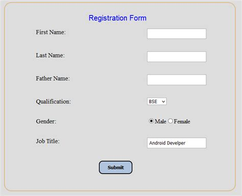 div html code registration form using div elements in html css
