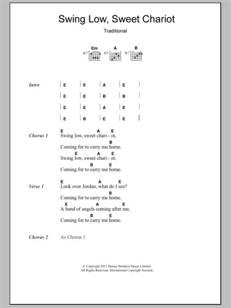 words to swing low swing low sweet chariot by eric clapton guitar chords