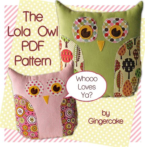 free pattern owl cushion owl pillow pdf sewing pattern the lola owl pillow and bag