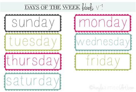 printable worksheets days of the week 8 best images of printable calendar month labels free