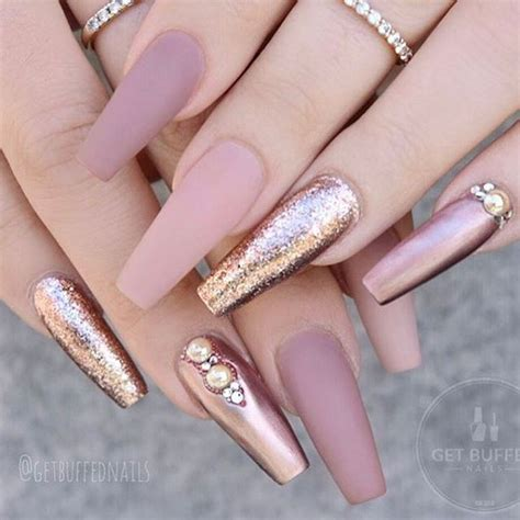 With Nails by Nail With Glitter Coffin Gold Gel