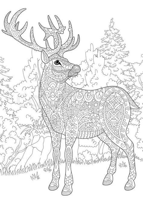stock vector  stylized deer stag buck christmas