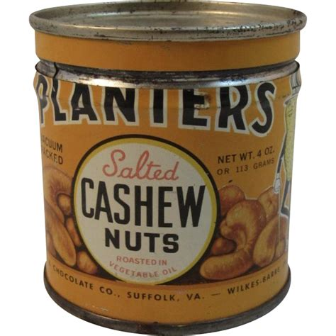 planters salted cashew nuts 4 oz tin with mr peanut from