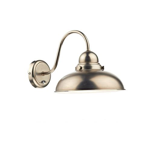antique chrome retro style wall light with large metal shade