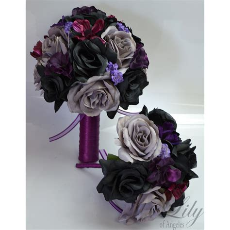 Corsage Black Grey black grey plum purple bouquets corsages boutonnieres