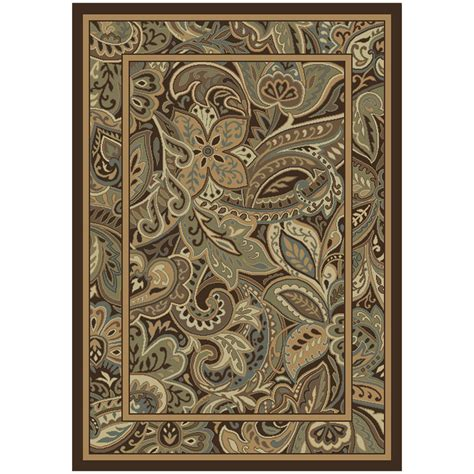 paisley park rug shop allen roth paisley park rectangular brown floral woven area rug common 8 ft x 11 ft