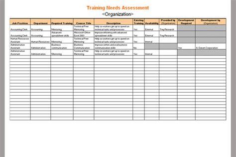 assessment template  training  sample  training  assessment template sample