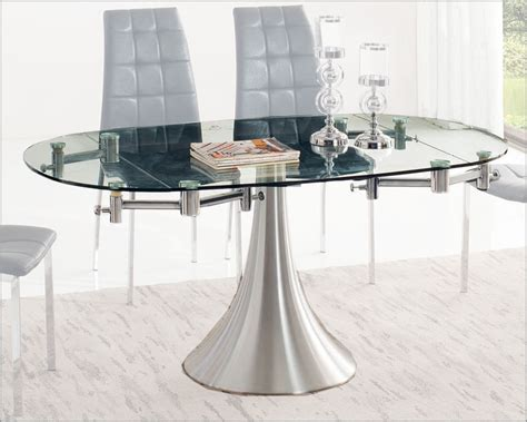 glass top dining table w extension 33 t017